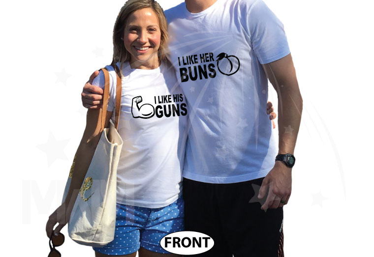 I Like His Guns, I Like Her Buns Matching Couple Shirts married with mickey 13thave