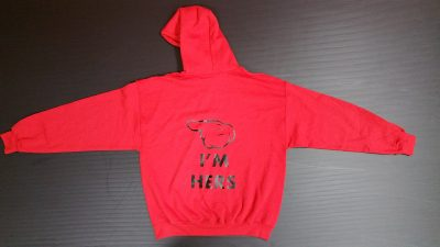 Red Pullover Hoodie Large, Mickey Mouse Kiss (front) I'm Hers Mickey Mouse Pointing Hand (back design)