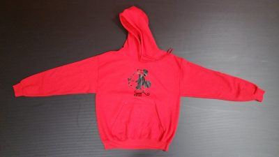 Red Pullover Hoodie Medium, Minnie Mouse Kiss (front) He's Mine Minnie Mouse Pointing Hand (back design)