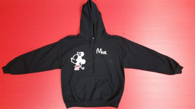 Black Pullover Hoodie Large, Minnie Mouse Kiss Mrs (front design)