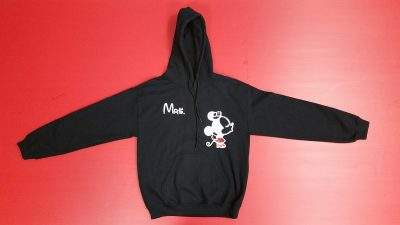 Black Pullover Hoodie Small, Minnie Mouse Kiss Mrs (front design)