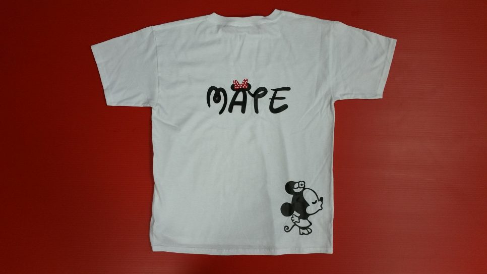 White Tshirt Youth Large, I'm Hers Minnie Mouse Pointing Hand (front) Mate Minnie Mouse Kiss