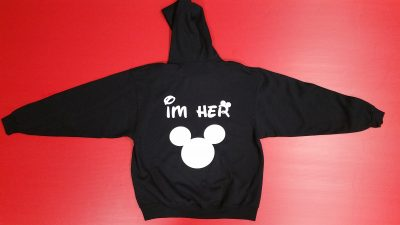 Black Pullover Hoodie XL , True (front design) I'm Her Mickey Mouse Head (back design)