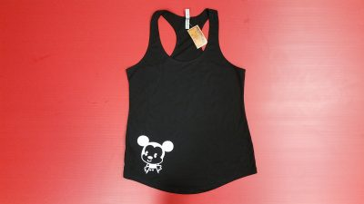 Black Ladies Racerback Tank Top XL, Mickey Mouse Kiss (front) She's My Princess (back)