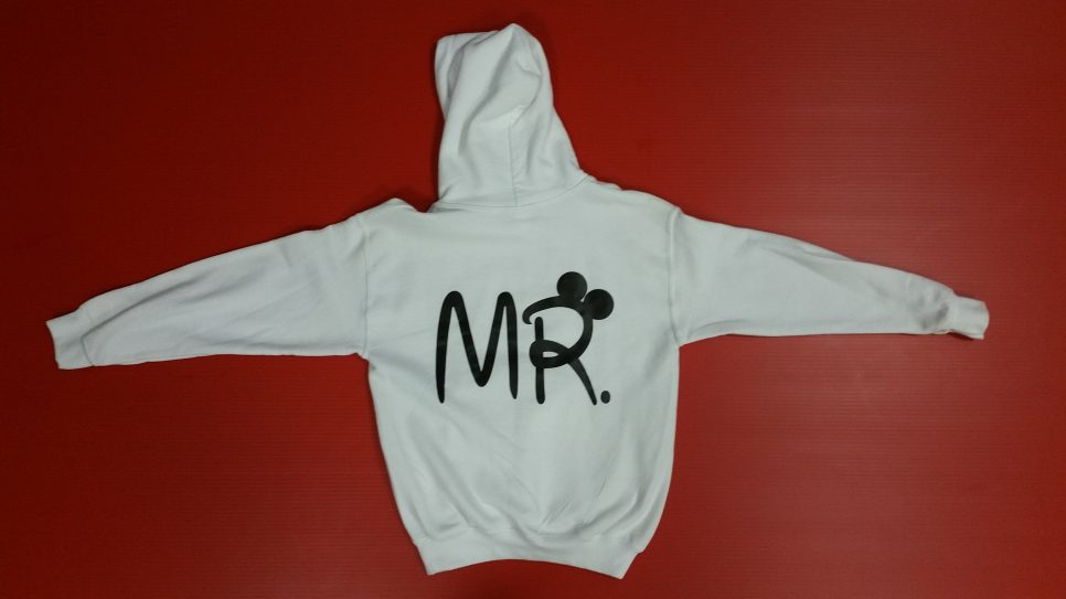 White Pullover Hoodie Youth Medium, Mickey Mouse Kiss (front) Mr (back design)